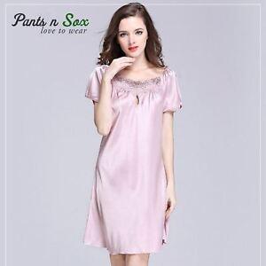 272f489404 Women Spring Gowns Nightie Silk Feel Sleeveless Ladies Sleepwear Nightdress  Pink