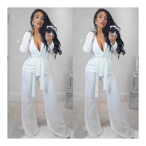 Nouveau Haut Femmes à manches longues formelle Casual Crêpe Belted Blazer Jacket Top 8-26