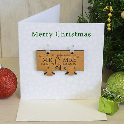 PERSONALISED Mr /& Mrs Couple First Christmas Bauble Card Jigsaw Tree Decoration