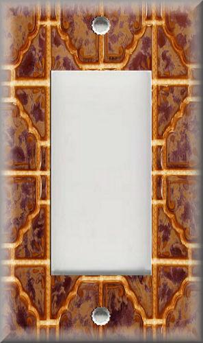 Metal Light Switch Plate Cover Tile Design Image Mottled Copper Rust Decor