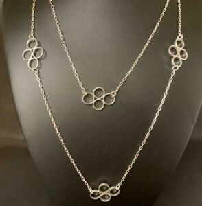 Genuine-925-Sterling-Silver-Long-Necklace-Open-Circles-Rings-Geometric-Women