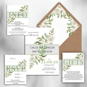 WEDDING-INVITATIONS-Personalised-Rustic-White-Grey-amp-Green-floral-packs-of-10