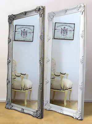 Abbey Ornate Large Full Length Leaner Mirror White Or Silver 65 X 31 Ebay