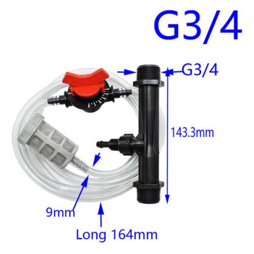 """Bewässerung Venturi Dünger Set Injektor Wasser Rohr Schalter Filter 1//2 /"""" 3//4 /"""""""