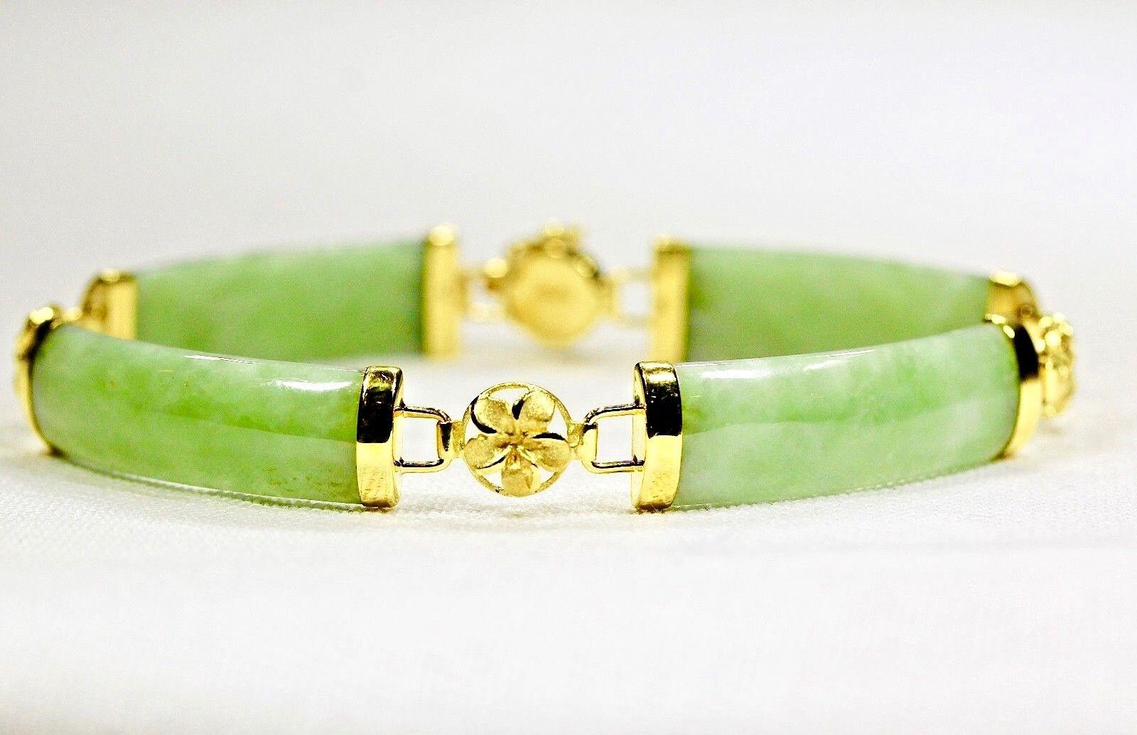Jade Link Plumeria Bracelet Jewelry 14kt gold Green Translucent Quality Handmade