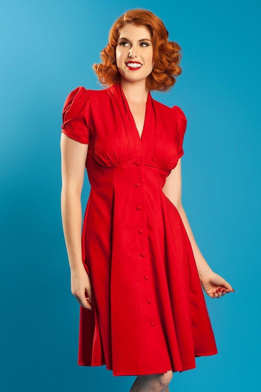 NWT Heart of Haute Retro 40s Style Manhattan Dress in rot Größe Medium Pin-up