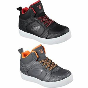 Boys-Girls-Skechers-90604L-ENERGY-LIGHTS-LED-Slip-On-Shoes-Black-Red-Orange-NIB