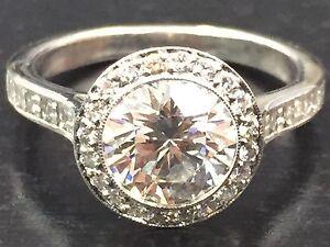Tiffany Amp Co Platinum Bead Border Set Diamond Engagement Ring 137Ct 55Ct HVVS1