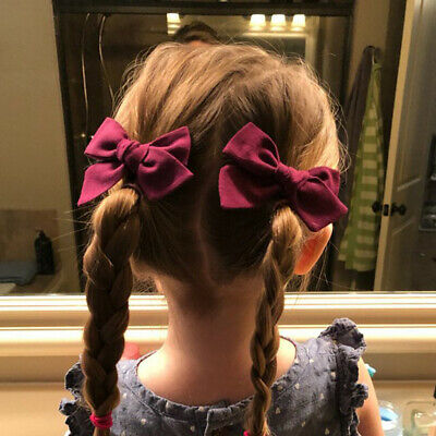 2PC Boho Style Baby Girls Flower Bow BB Hair Clip Children Gift Cotton Hairpins