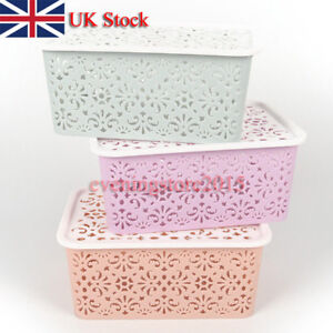 Plastic-Storage-Basket-Box-Bin-Container-Organizer-Clothes-Laundry-Home-HolUULK