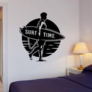Wall-Decal-Surf-Time-Sport-Surfing-Beach-Sun-Sea-Ocean-Vinyl-Sticker-ed1515