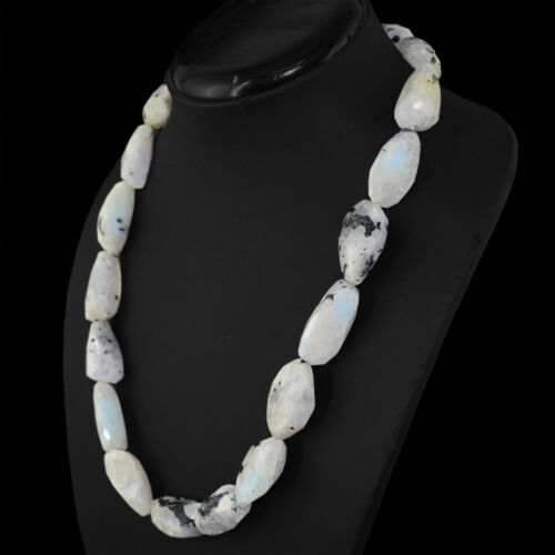 GORGEOUS 590.00 CTS NATURAL RICH BLUE FLASH MOONSTONE FACETED BEADS NECKLACE