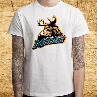 New Manitoba Moose Ice Hockey Team Logo Men/'s Black T-Shirt Size S-3XL