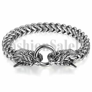 Mens-Silver-Tone-Heavy-Stainless-Steel-Double-Dragon-Head-Clasp-Bangle-Bracelet
