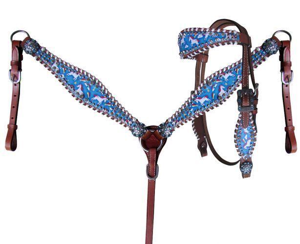 Tamaño de la superposición de impresión del arco iris Unicornio Pony Cabezada Riendas & pecho collar conjunto nuevo