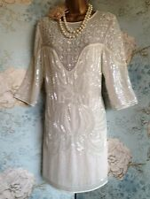 asos cream bead sequin 20s deco flapper gatsby wedding vtg party dress 6 8 10 38