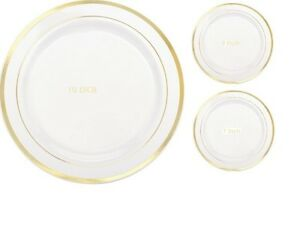 Wedding / Dinner / Party Disposable Plastic Plates white With Gold Rim