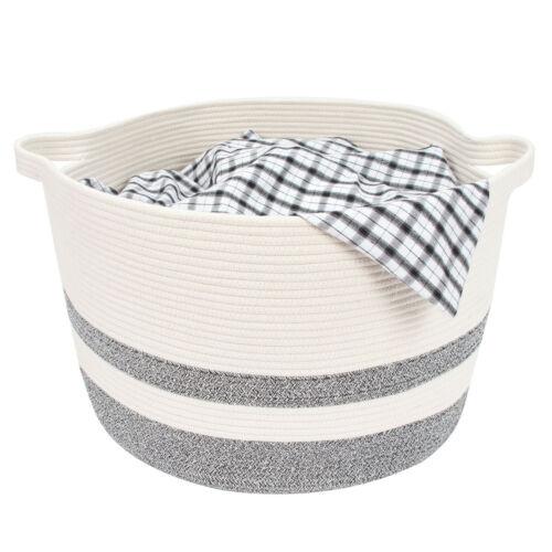 JEKOSEN Storage Laundry Basket Cotton Rope Basket Woven Storage for Toys Blanket