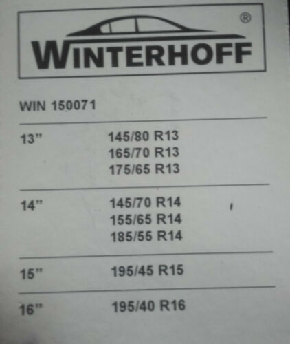 2 CHAINES CHAUSSETTES A NEIGE TEXTILE pour pneu 175//65 R13 marque winterhoff