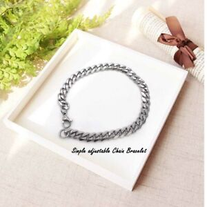 Men-039-s-Stainless-Steel-Chain-Link-Bracelet-Wristband-Bangle-Jewelry-Punk-Silver
