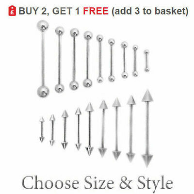 SURGICAL STEEL BARBELL STRAIGHT EAR NIPPLE TONGUE PIERCING PA BAR 1MM 10MM