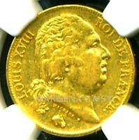 FRANCE LOUIS XVIII 1818 A GOLD COIN 20 FRANCS * NGC CERTIFIED GENUINE XF 40 RARE