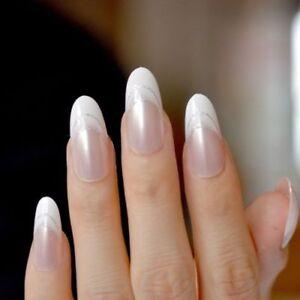 24 PCS White Clear French Nail Glitter false nails coffin ...