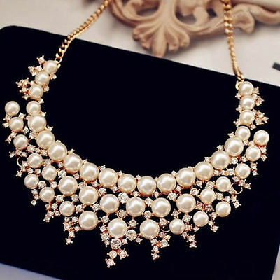 Stylish Womens Multilayer Pearl Crystal Collar Chain Statement Necklace Pendant
