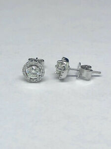 14K-White-Gold-1ctw-H-VS1-Round-Cut-Natural-Diamond-Halo-Stud-Earrings