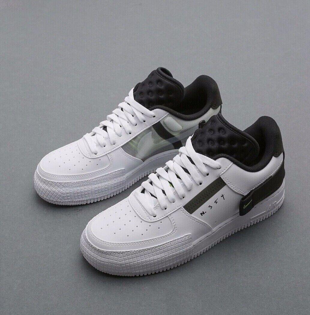 Nike Air Force 1 Low Type White Black Volt N 354 UK 7 11 EUR 41 46
