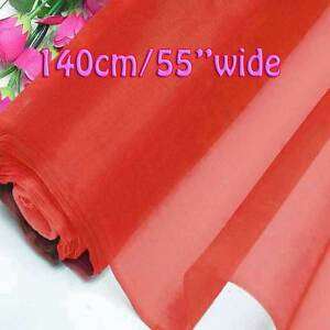 4 Yards Flame Scarlet Pure Silk Organza Bridal Dress Fabric 140cm Tulle Voile