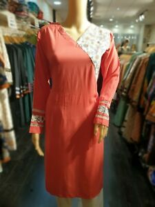 Indian-Pakistani-Shalwar-Kameez-Salwar-Suit-Dress-Wedding-Designer-Kurta-Coral