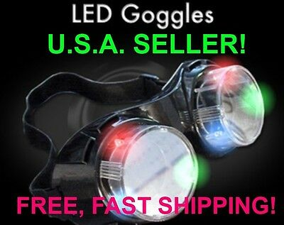RGB LED Flashing Cyber Goggles - Rave, Birthday, July 4th, SUPER AWESOME OMG!