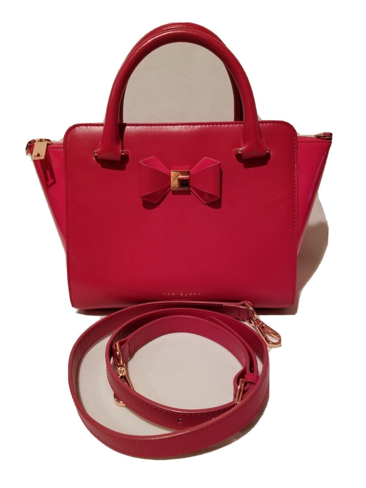 Ted Baker Hot Pink Leather Tote Shoulder Bag Bow Rose Gold Hardware Patent Sides