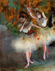 """Edgar Degas Oil Painting on Canvas impressionism Two Dancers on a Stage 28x36"""""""