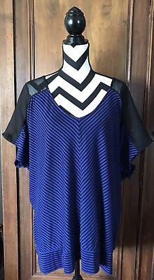 Women's Plus Size Torrid Top Blue Black Stripes Short Sleeve Size 3 3X 22  24 | eBay