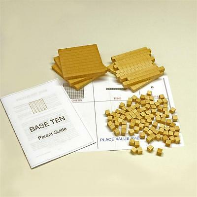 HELP with maths! 'Base Ten' PRIMARY SCHOOL MATHS blocks, 123-pcs + Parent Guide