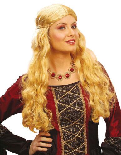 Mittelalter Frauen Perücke Prinzessin Magd Langhaar Gotik Locken lockig blond