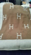 """Luxe Hermes """"H"""" Avalon Blanket Throw- Rich Beige Brown- 41x58- REDUCED PRICE!"""