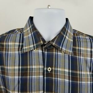 Peter-Millar-Mens-Brown-Blue-Gray-Plaid-Check-L-S-Casual-Button-Shirt-Sz-Large-L