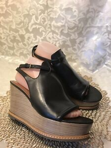 DEREK-LAM-Wedge-Platform-T-strap-Sandals-Black-Leather-SZ-10M-NICE