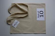 Calico Algodón Bolso de compras mango largo paquete de 10