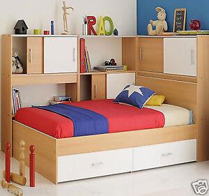 stauraumbett kommode schrank 90x20 bett kombibett buche weiss jugendbett 90x200 ebay. Black Bedroom Furniture Sets. Home Design Ideas
