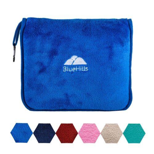 BlueHills Premium Soft  Royal Blue Travel Blanket Pillow Airplane Blanket in ...