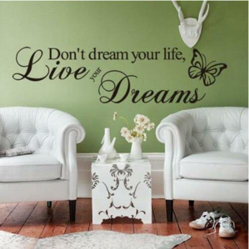 Wall Stickers Removable Vinyl Quote Decal Mural Home Bedroom Room DIY TO