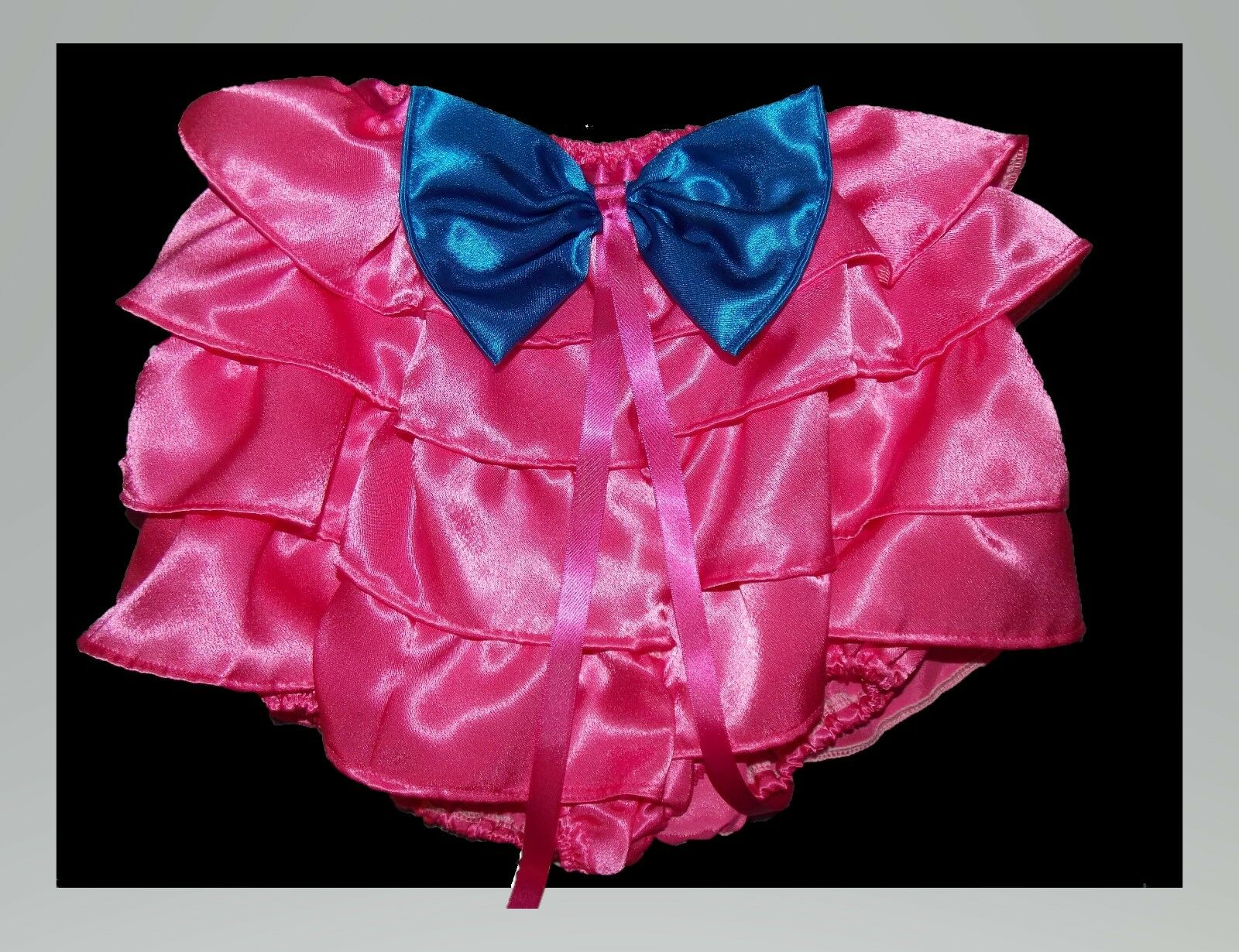DOUBLE SATIN ALL AROUND LACED KNICKERS WITH RIBBON TRIMS TV SISSY LOLITA COSPLAY