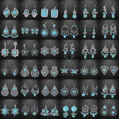 Handmade Womens Fashion Jewelry Tibetan Silver Vintage Turquoise Dangle Earrings