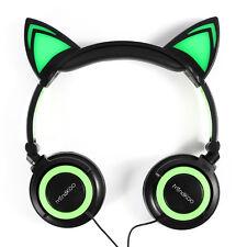 US Foldable Cat Ear LED Music Lights Headphones Handsfree Earphone for HUAWEI P6