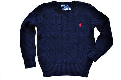 NEW POLO RALPH LAUREN CABLE KNIT BOY NAVY SWEATER JUMPER PULLOVER HOLIDAY Size 7