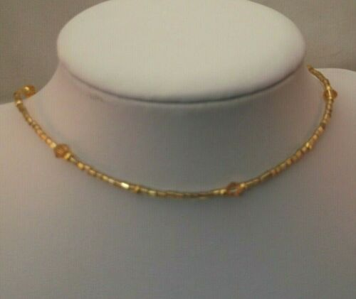 Golden yellow crystal glass beaded choker necklace festival 13.5-16inch
